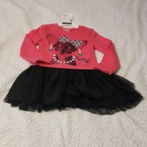 Girl sweater dress with tulle skirt